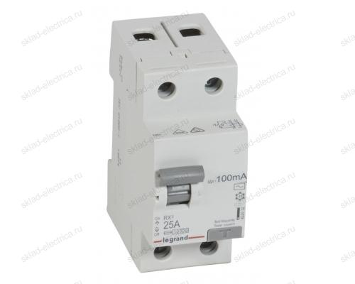 Выключатель дифференциальный двухполюсный (УЗО / ВДТ) 25А 100мА АС Legrand 402028