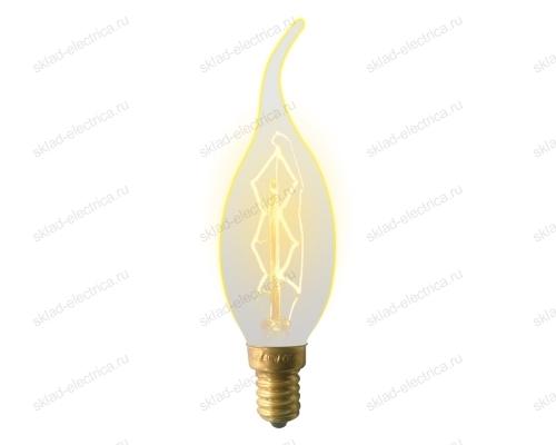 IL-V-CW35-60-GOLDEN-E14 ZW01 Лампа накаливания Vintage. Форма свеча на ветру. Форма нити ZW. Картон. ТМ Uniel