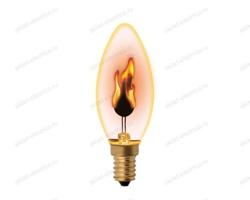 IL-N-C35-3-RED-FLAME-E14-CL Лампа декоративная с типом свечения эффект пламени. Форма свеча. прозрачная.