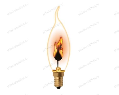 IL-N-CW35-3-RED-FLAME-E14-CL Лампа декоративная с типом свечения эффект пламени. Форма свеча на ветру. прозрачная.