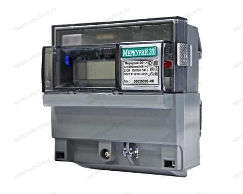 Счетчик электроэнергии Меркурий 201.4 10(80)А однофазный однотарифный ЖК на DIN-рейку