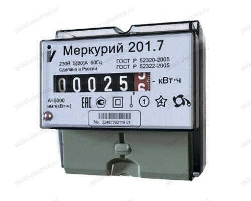 Счетчик электроэнергии Меркурий 201.7 5(60)А однофазный однотарифный на DIN-рейку