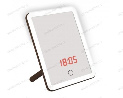 Настольный светильник зеркало. 4W. Встроенный аккумулятор 3.7V-600mAh. Сенсорный выключатель. Диммер. Часы. Термометр. Коричневый.