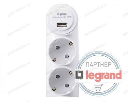 Зарядка USB 1порт + 2 розетки Legrand Anam DC 5V 2000mA, 16A L855963U1